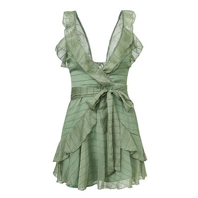 V Neck Green Ruffle
