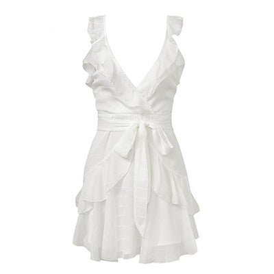 V Neck White Ruffle