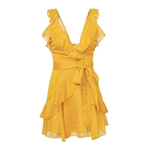 V Neck Yellow Ruffle