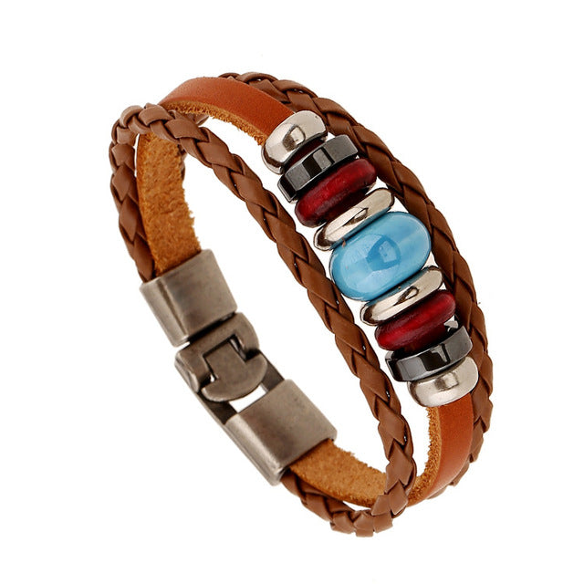Stone Multilayer Leather Bracelet