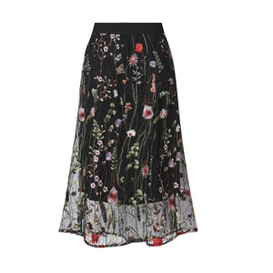 Embroidery Midi Skirt