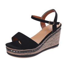 Load image into Gallery viewer, Black Suede Sandal