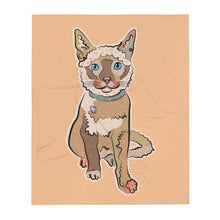 "Load image into Gallery viewer, ""Pretty Kitty"" Natural Color Throw Blanket"