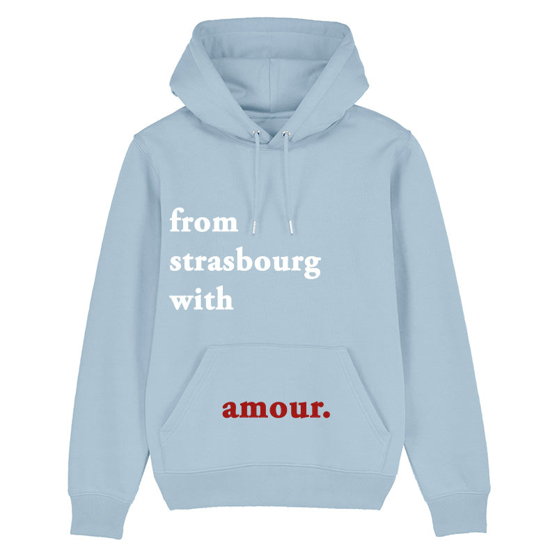 Hoodie From strasbourg with amour bleu ciel