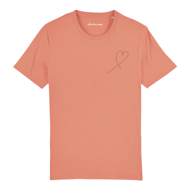 Tee sunset orange 3D coeur brodé