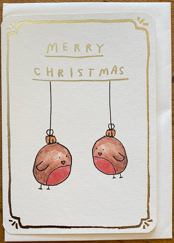 Gold Robin Baubles