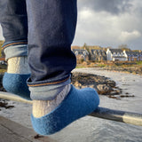 Iona Wool Felted Slippers - Ocean Blue