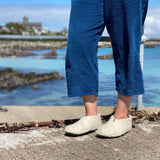 Iona Wool felted slippers - Full Heel, Natural Cream.