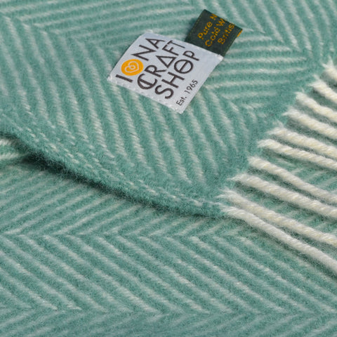 Sea Green Herringbone