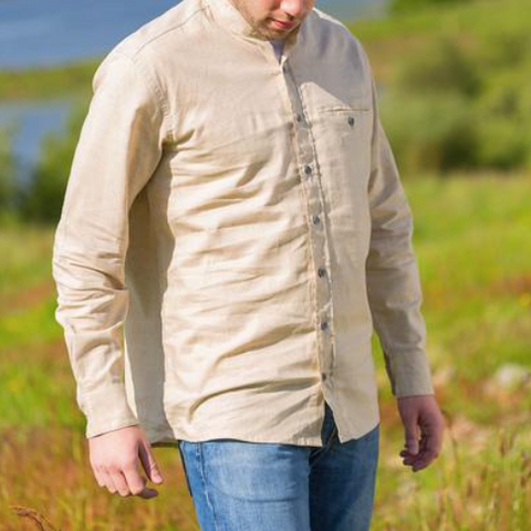 Grandfather Shirt - Linen Natural