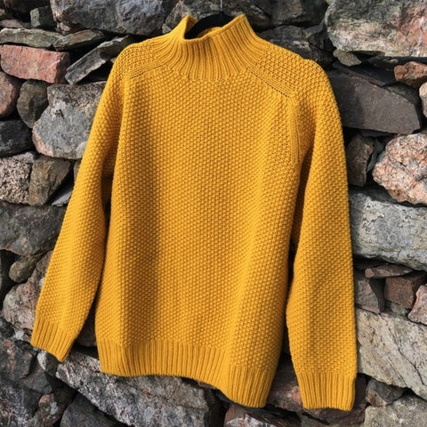 Moss Stitch Turtle Neck - Mustard