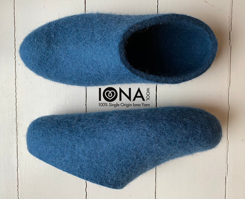 Iona Wool Felted Slippers - Low heel, Ocean Blue.