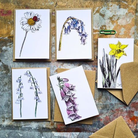 Mini Notelets Pack - Flowers