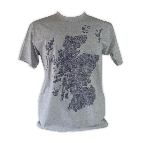 Scotland Map/Place names T-Shirt - Grey