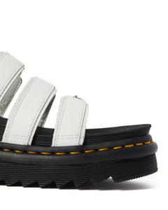 BLAIRE LEATHER SLIDE SANDALS (white)