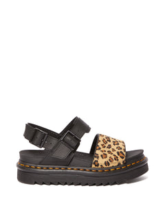 VOSS Animal Print Leather Strap Sandals (leopard)
