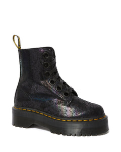 MOLLY METALLIC LEATHER PLATFORM BOOTS (blk)