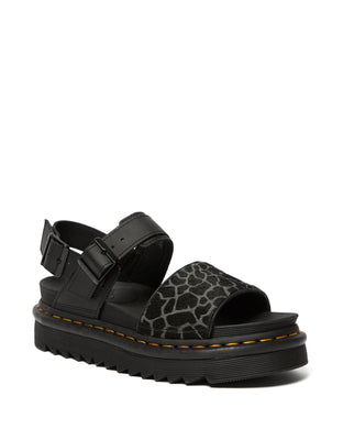 VOSS Animal Print Leather Strap Sandals (blk & grey)