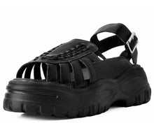 Load image into Gallery viewer, Black Vegan Platform Sandals