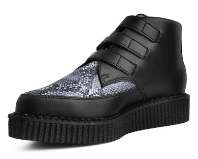 Black Vegan Snakeskin Low Boot Creeper