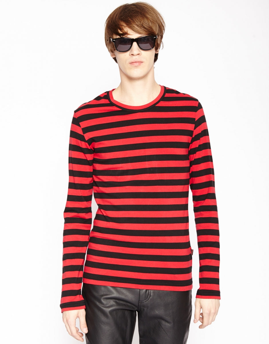 STRIPE KNIT TOP (blk/red)