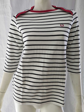 Breton 3/4  Sleeve Stripe Top (light ecru)