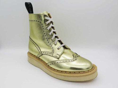 GOLD LEATHER BROGUE DERBY BOOTS