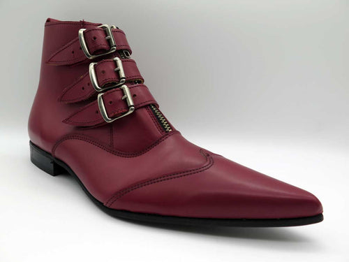RED JACK 3-STRAP LEATHER ZIP BOOT