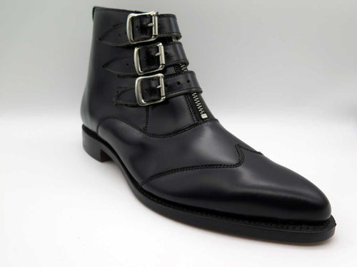 BLACK 3-STRAP LEATHER ZIP BOOT