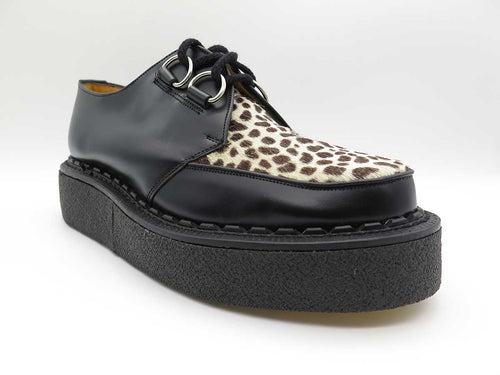 LEATHER LEOPARD GIBSON D-RING CREEPER