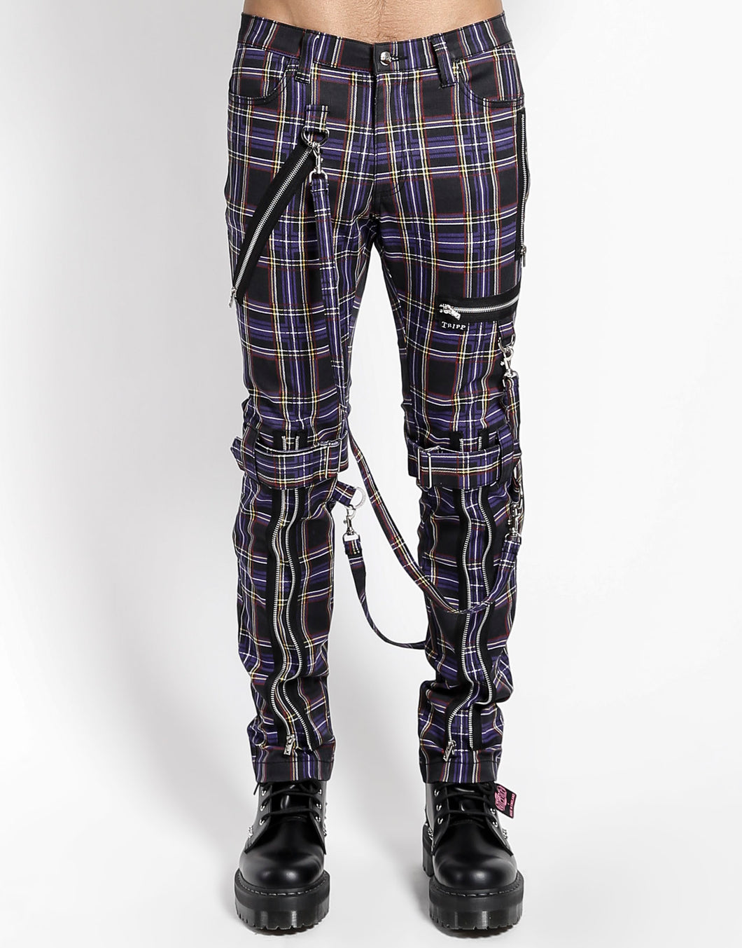 PLAID BONDAGE PANT (purple)