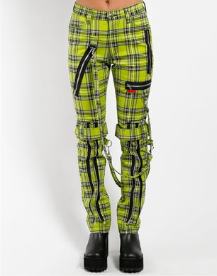 PLAID BONDAGE PANT (lime)