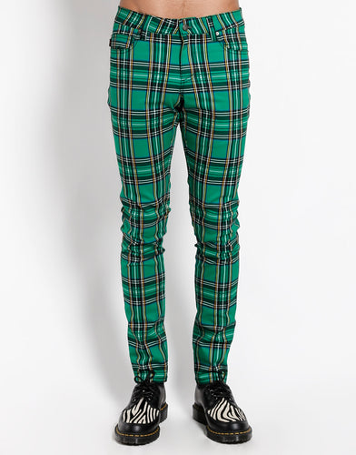 GREEN PLAID ROCKER JEAN