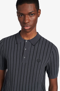 STRIPE KNITTED SHIRT (charcoal)