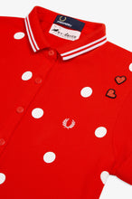 Load image into Gallery viewer, Amy Winehouse Polka Dot Polo (lipstick red)