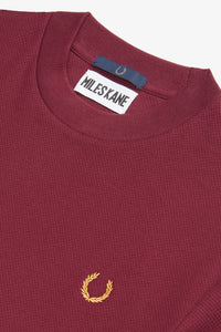 Crew Neck Pique T-Shirt by Miles Kane (aubergine)