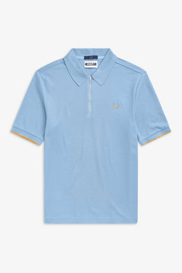 Zip Detail Polo Shirt by Miles Kane (blue)