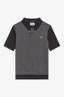 Jacquard Panel Polo Shirt by Miles Kane