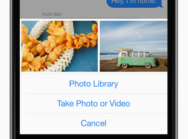 Tap the attach media button, select one or more recent photos to share, then tap Send Photo.
