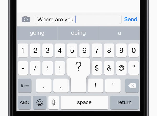 When you tap a suggested word from the QuickType bar, a space appears after it. But if you enter punctuation, the space is deleted. No need to backspace — just keep typing.