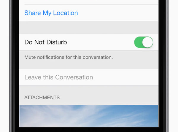 Mute notifications for a conversation — handy for, say, a busy group discussion. While viewing the thread, tap Details, then tap Do Not Disturb.