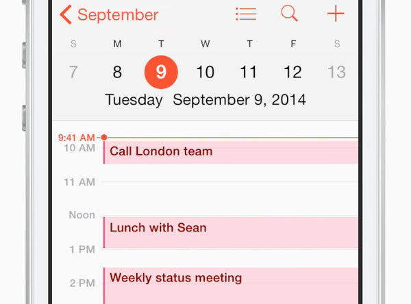Pinch your calendar to see more hours. Turn iPhone sideways to display your whole week.