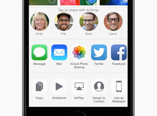 In apps that support AirDrop, you can share a photo, video, or document with people nearby. Tap the share button, then tap the person you want to share with.