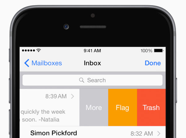 Swipe a message to the right to mark it. Swipe left for other options, and swipe farther to delete it. Change the actions in Settings > Mail, Contacts, Calendars > Swipe Options.