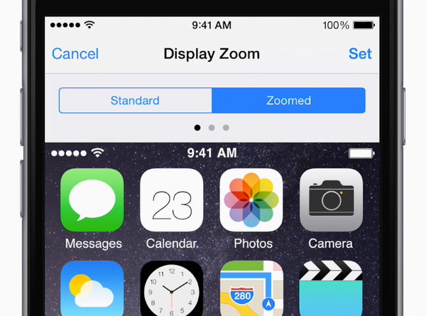To display everything at a larger size, go to Settings > Display & Brightness > View, then tap Zoomed.