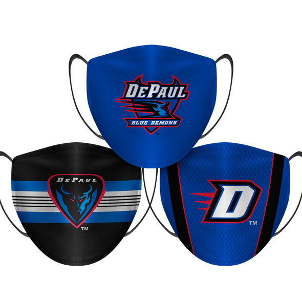 DePaul Blue Demons - Face Mask - 3 Pack