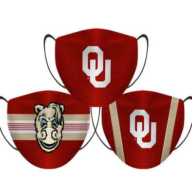 Oklahoma Sooners - Face Mask - 3 Pack