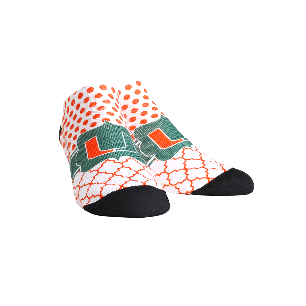 Miami Hurricanes - Quatrefoil Dots Low Cut