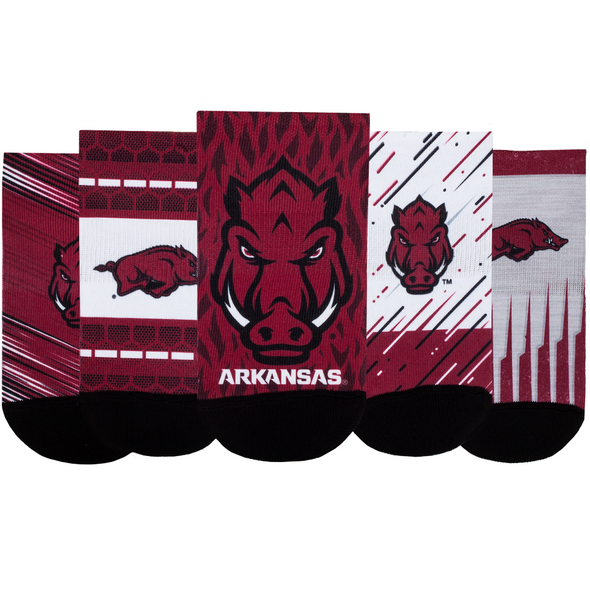 Arkansas Razorbacks - Super Fan 5 Pack - Low Cut