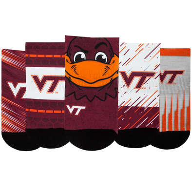 Virginia Tech Hokies - Super Fan 5 Pack - Low Cut